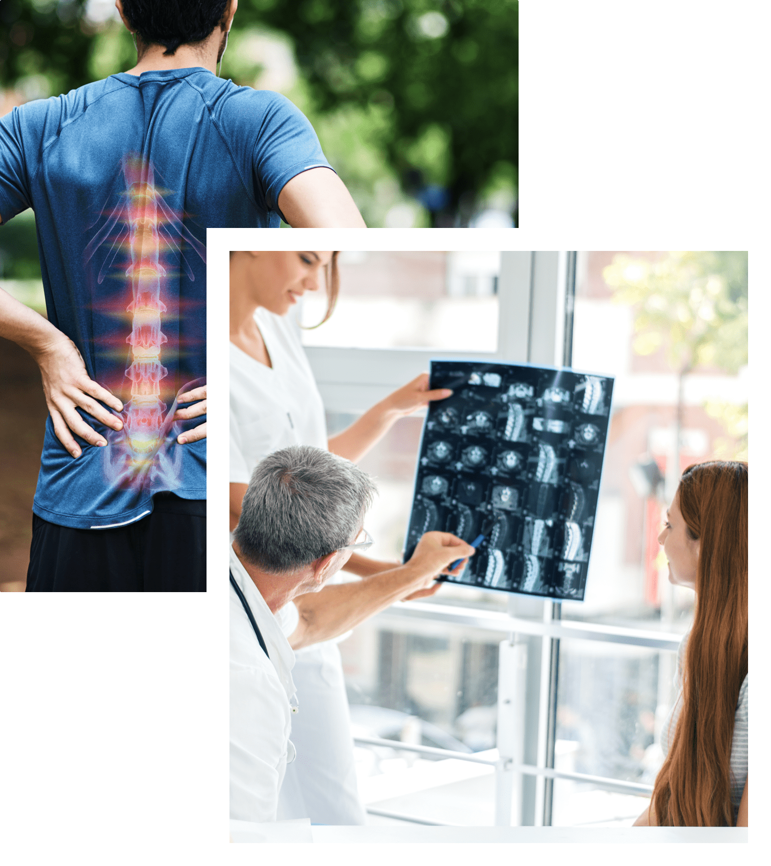 Two chirospot experts explaining a patient's x-ray to her
