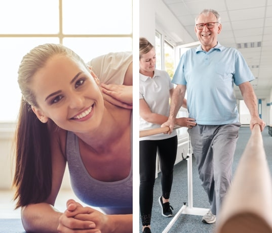 A smiling woman doing floor stretching exercises while being assisted by an expert and a woman helping an elderly man walk as physical therapy